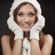 Cheerful smiling woman clothing in warm hat. Winter season.gloves — Stock Photo #7578936