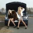 Two young blond beautiful women with broken car — Stock Photo