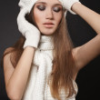 Cheerful woman clothing in warm hat. Winter season.gloves — Stock Photo