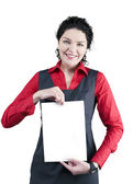Hold woman in red blouse — Stock Photo