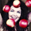 Stock Photo: Womwith apples