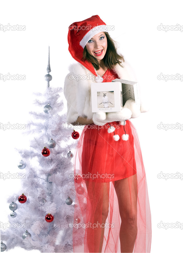 Younf woman in red with a gift — Stock Photo #7739855