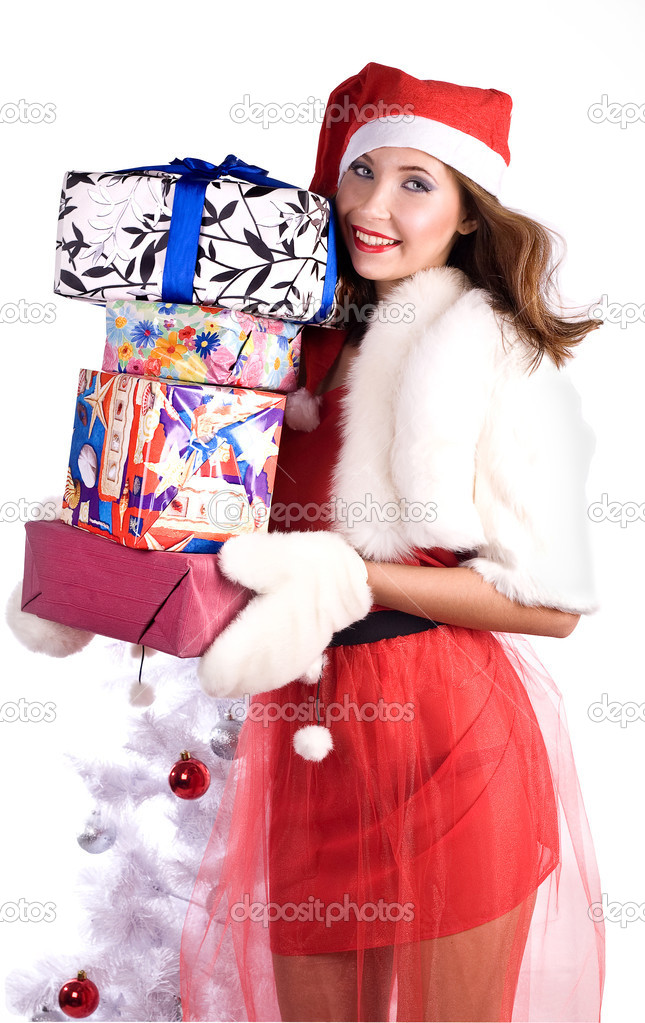 Pretty girl with Very many gifts  Zdjcie stockowe #7759419
