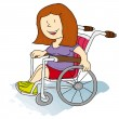 Handicapped girl - Stock Vector