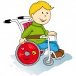 Handicapped little boy - Stock Vector