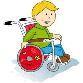 Handicapped little boy — Stock Vector