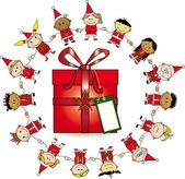 Around the gift — Stock Vector