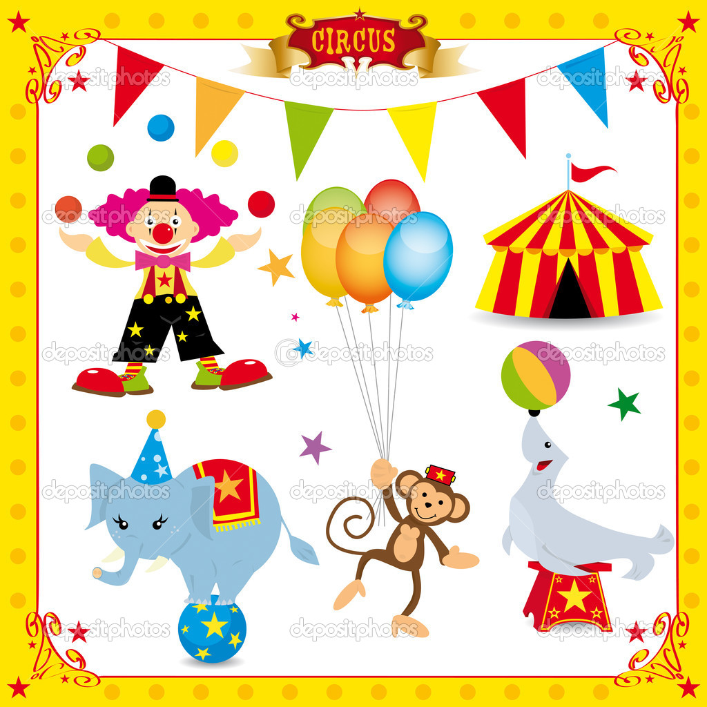 A fun circus set. Each element is on a different layer.Very easy to choose, for exemple the clown or the big top.... — Stock Vector #7540674
