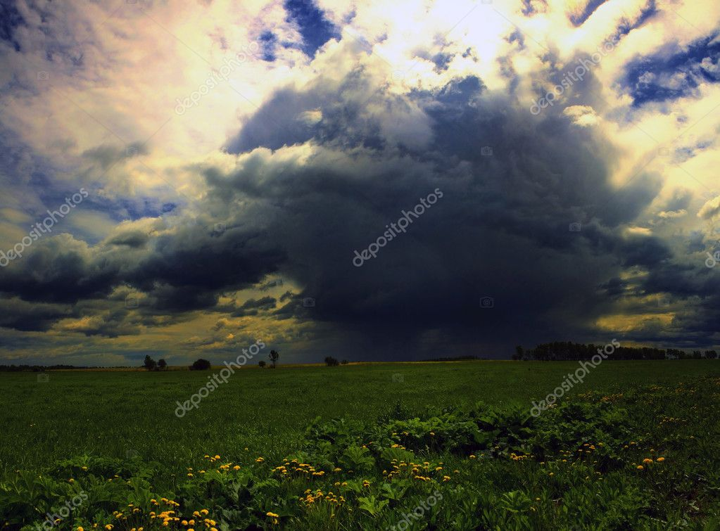 Storm cloud sky nature field — Stock Photo #7689209