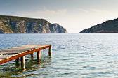 岩が多い湾の古い桟橋 — ストック写真