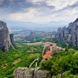 Meteora scenic panorama with The Holy Monastery of Rousanou - Stock Photo