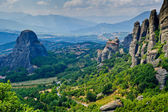 Meteora panorama with The Holy Monastery of St. Nicholas Anapausas. — Stock Photo