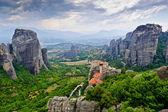 Meteora scenic panorama with The Holy Monastery of Rousanou — Stock Photo
