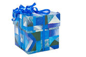 Blue christmas gifts box — Stock Photo