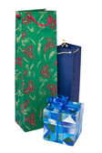 Christmas gift bags and box — Stock Photo