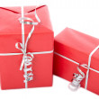 Two red Christmas gift boxes - Stock Photo