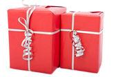 Caixas de presente vermelho — Fotografia Stock
