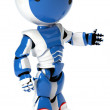 Robot with red shoes and headband ready to run — Stok fotoğraf
