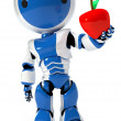 Blue circle robot holding apple — Stock Photo