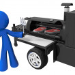 BBQ Smoker Mobile Grill and Man Preparing Food - Stock Photo