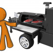 Mcooking steaks on mobile grill — Stock Photo #7536568