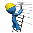 3d Blue Man Working on Roof, Roofer Professional - Stock Photo