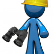 3d Blue Man Surveyer Holding Binoculars — Stock Photo