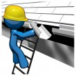 3d Blue Man Replacing Gutters — Stock Photo
