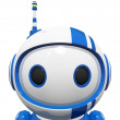3d Cute Blue Robot Portrait Close Up — Stock Photo