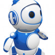 3d Cute Blue Robot Posed and Ready — Stock Photo