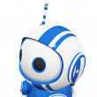 Stock Photo: 3d Cute Blue Robot with antennae looking left and observing