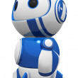 3d Cute Blue Robot Hero Stance Gazing in Wonder — Stock Photo