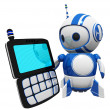 3d Cute Blue Robot with PDA — Stock Photo