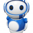 3d Cute Blue Robot with Uniwheel — Stock Photo #7536597