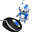3d Cute Blue Robot with Computer Mouse — Stock Photo
