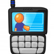 Orange Man PDA Cell Phone — Stock Photo
