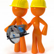 3d Orange Man and Woman with Circular Saw Plus Hard Hats - Stock Photo