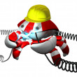 Scutter Crab Robot Repairing Power Cable With Hard Hat — Stock Photo