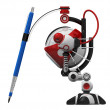 Stock Photo: Designer Robot with Mechanical Pencil side orthographic view.