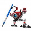 Stock Photo: Designer Robot with Mechanical Pencil with Pencil Extreme Perspe