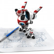 Designer Robot with Mechanical Pencil Drawing Upgrade Plans - Stock Photo