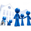 Royalty-Free Stock Photo: Family Looking at Blue House Blueprint Style
