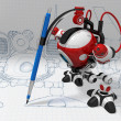 Designer Robot with Mechanical Pencil Plotting Plans - Stock Photo