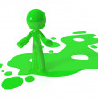 Green Paint Person Character Emerging from Puddle — Stock Photo