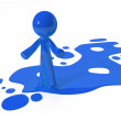 Blue Paint Person Character Emerging from Puddle — Stock Photo