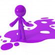 Purple Paint Person Character Emerging from Puddle — Stock Photo