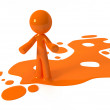 Orange Paint Person Character Emerging from Puddle — Stock Photo