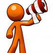 Orange Man with Megaphone — Stock Photo