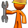 3d Orange Maintenance Man with Wrench and Hard Hat - Stock Photo