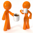 Stock Photo: 3d Orange Mand WomDrinking Coffee